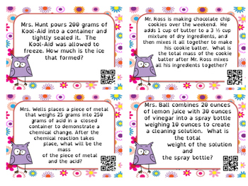 Conservation of Mass Word Problem Task Cards with QR Self Check