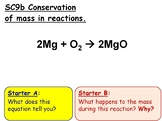 Conservation of Mass in Reactions GCSE Chemistry lesson SC9b