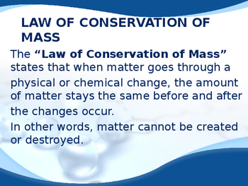 Conservation of Matter Powerpoint -