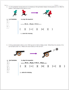 Conservation of Momentum Scaffolded Practice Worksheet | TpT