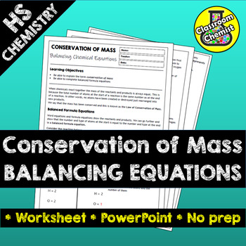 Balancing Equations Worksheet and PowerPoint - Conservation of Mass