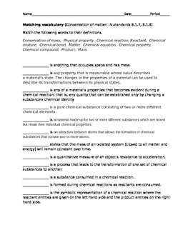 Conservation of matter vocabulary test with key