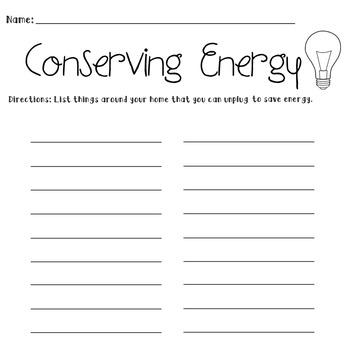Conserving Energy Worksheet