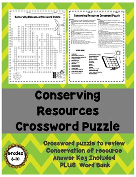 Conserving Resources Crossword Puzzle