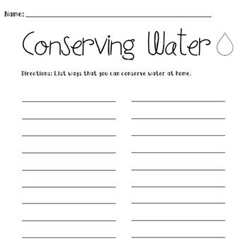 Conserving Water Worksheet