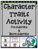 Character Traits Activity, Considerate and Inconsiderate