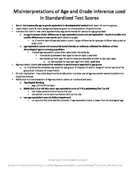 Consideration of Age and Grade Interpretation in Standardi