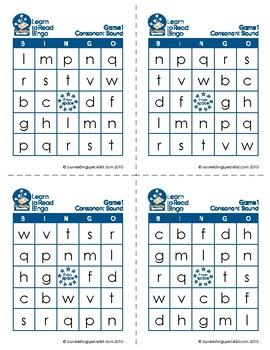 Reading Games: Beginning & Ending Consonant Bingo (LTR)