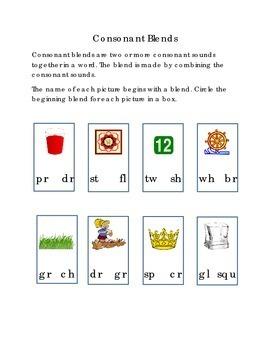 Consonant Blend Circle Beginning Blend Picture SH PL TR CL DR TW WH Kindergarten