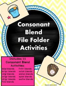 Consonant Blend File Folder Activities