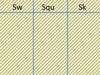 Consonant Blend Picture Sort Literacy Center Activity- SK SQU SW