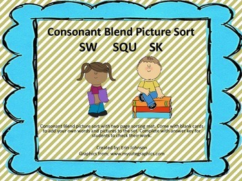 Consonant Blend Picture Sort Literacy Center Activity- SK SQU SW