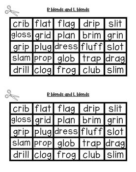 Consonant Blend Word Sort