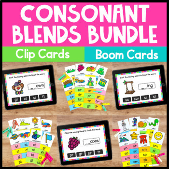 Consonant Blends Clip Cards for Phonics Centers and Phonics Activities
