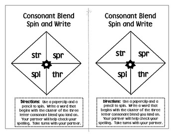 Consonant Blends Spin and Write