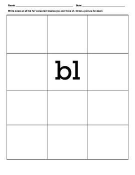 Consonant Blends Activity Work Sheets