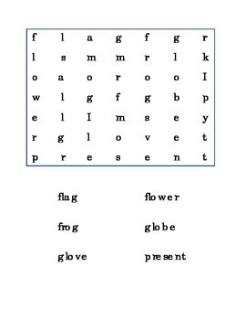 Consonant Blends Beginning Blends 3 pg. Word Search SW BL