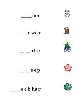 Consonant Blends Beginning Blends Fill in Missing Blend Draw Line BL CR CL DR GL