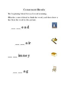 Consonant Blends Beginning Blends Fill in Missing Blend Draw Line CH FL BR PR GL