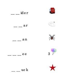 Consonant Blends Beginning Blends Fill in Missing Blend Draw Line FR SP THR SW