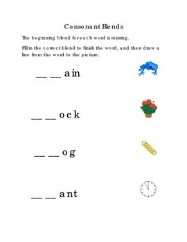 Consonant Blends Beginning Blends Fill in Missing Blend Dr