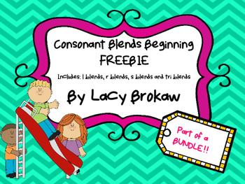 Consonant Blends Beginning FREEBIE r blend, s blend, l ble