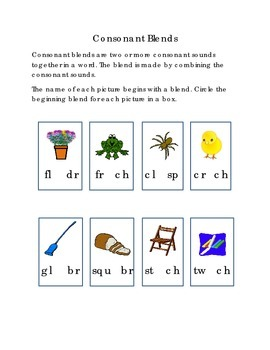 Consonant Blends Circle Beginning Blend FL SP CH BR CL DR FL CR SQU Kindergarten