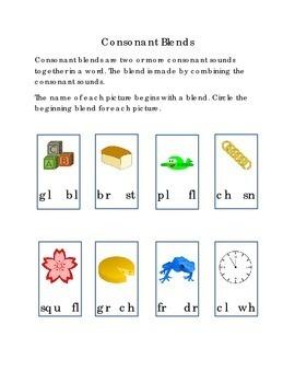 Consonant Blends Circle Beginning Blend for Each Picture Blocks Frog Clock