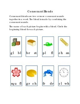 Consonant Blends Circle Beginning Blend for Each Picture B