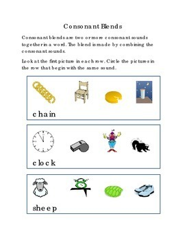 Consonant Blends Circle Pictures Beginning Blends Boxes CH CL SH SN ST THR WH