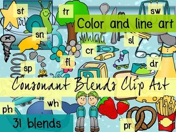 Consonant Blends Clip Art - 62 pieces