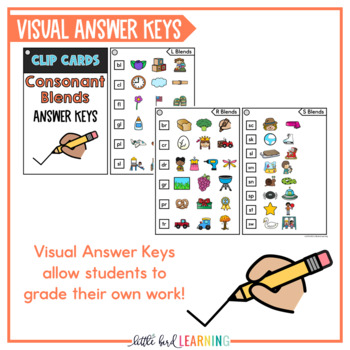 Consonant Blends Clip Cards