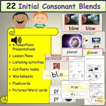 Consonant Blends/Clusters, PPT, Worksheets, Listening Activities, Cut/Paste