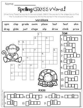 Consonant Blends Crossword Puzzle