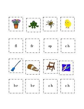 Consonant Blends Cut Paste Match Picture Beginning Blend Word 4 pgs Kindergarten
