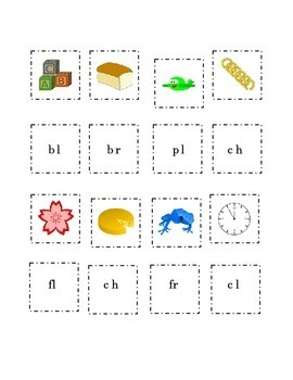 Consonant Blends Cut and Paste 3 pages Picture Word Beginning Blend Kindergarten