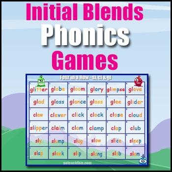 Consonant Blends Game - sl, cl, gl, bl, fl, pl, str, br, g