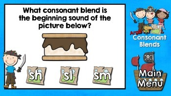 Consonant Blends Jeopardy-Style Game Show