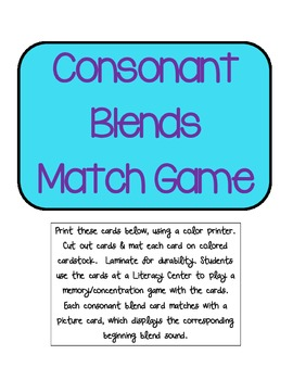 Consonant Blends Match Game