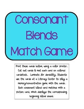 Consonant Blends Match Game