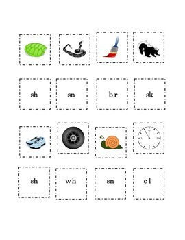 Consonant Blends Match Pictures Beginning Blend Word Cut Paste 3 pg Kindergarten
