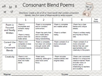 Consonant Blends Poem Rubric