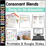 Consonant Blends Intervention: Printable and Google Slides