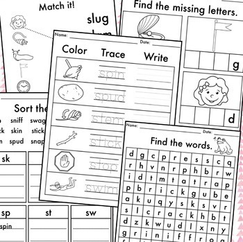 NO PREP Phonics Worksheets Consonant Blends Word Work BUNDLE