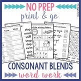 NO PREP Consonant Blends Worksheets | Blends Word Work BUNDLE