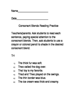 Consonant Blends Reading Practice