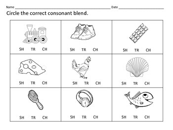 Literacy Centers: Consonant Blends: SH   CH   TR