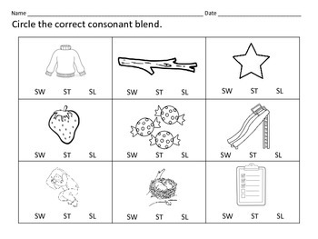 Literacy Centers: Consonant Blends: SW ST SL