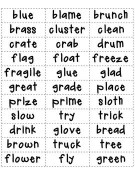 Consonant Blends Sort for L, R, S