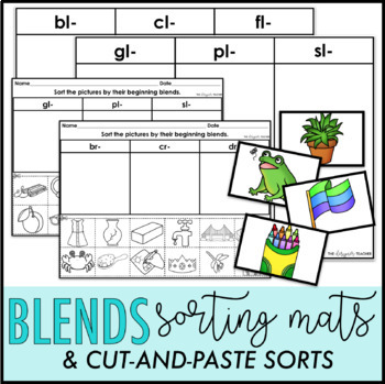 Consonant Blends Sorting Mats And Cut And Paste Sorts Bundle Tpt